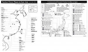図1 中国、韓国、台湾の原子力発電所(左)と日本の原子力(研究炉、核燃料サイクル施設を含む)施設(右)